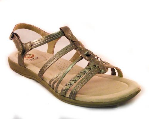 Earth spirit light platinum leather sandal.